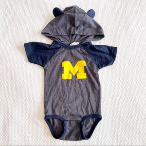 University of Michigan Infant Hooded Short Sleeve Onesie - 6M